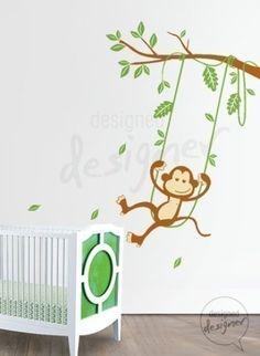 Image of Vinyl Wall Art Decals - Monkey on Swing Theme- dd1017 $75