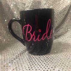 Pink and black bride coffee mug with by GlitzyGlitterGal on Etsy