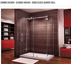 Glass Shower Enclosures, Bathtub Enclosures & Acrylic Bases by Fleurco Neo Angle Shower Doors, Glass Shower Doors, Glass Showers, Bathroom Showers, Small Bathroom, Bathroom Ideas, Frameless Shower Enclosures, Glass Shower Enclosures, Shower Pans And Bases