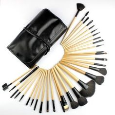 cool Dr K's Professional Makeup Brush Set| Pro Cosmetic-32pc Studio Pro Makeup Make Up Cosmetic Brush Set Kit w/ Leather Case - For Eye Shadow, Blush, Concealer, Etc. (Black & Wood) - For Sale
