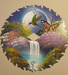 Hand Painted Saw Blade #2 Butterfly Hummingbird Scene Art lodge home cabin decor
