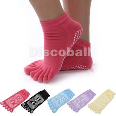 5 Pairs Pack Antiskid Non Slip Breathable Women Cotton 5 Toe Yoga Pilates Gym Grip Socks http://amzn.to/1bj9DUF