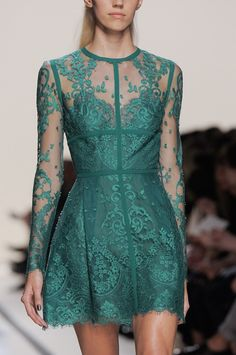Elie Saab spring 2014 long sleeved green lace dress
