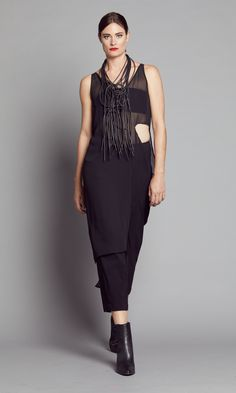 BLACK SHEER SPLIT DRAPE TUNIC 2328.1800BLK