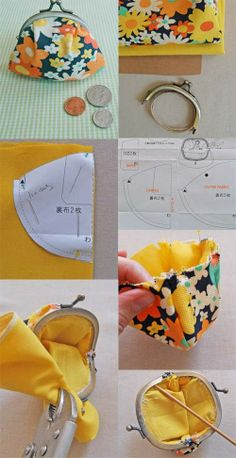 Cute Japanese Coin Purse (need a sewing partner ASAP)DIY coin purse-Fia keeps asking for one.Tutorial Tuesday: Cute Japanese Coin Purse by maria beatrizCoin Purse - now the question is: where do you get the hardware?the purl bee coinpurse - how to Coin Purse Pattern, Coin Purse Tutorial, Purse Patterns, Sewing Patterns, Pouch Tutorial, Wallet Pattern, Tote Pattern, Diy Bags Purses, Diy Purse