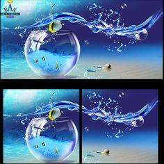 2015 новый бросился Diy мозаика 3d картина полный вся площадь буровой техники алмаз вышивка крестом 2 шт. аквариум купить на AliExpress