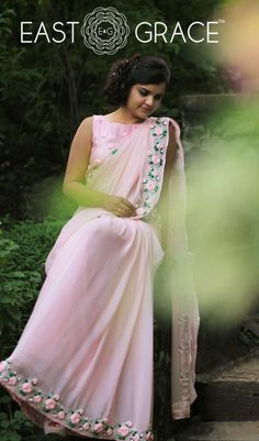 cbb0cdf6b7f36f Buy online saree with handcrafted ribbonwork   designer embroidery made  with love on Chiffon Georgette Silk Net Crepe and Cotton fabrics saree  collection ...