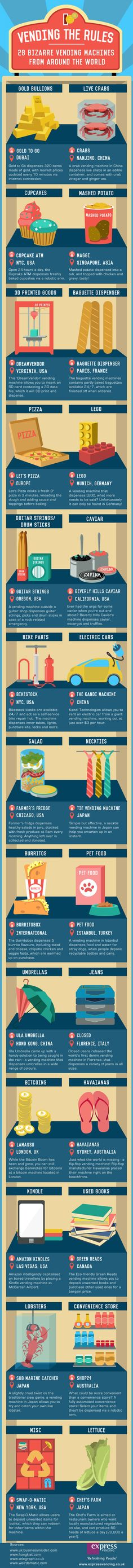 Vending The Rules: 28 Bizarre Vending Machines From Around The World #infographic #Travel #Tech