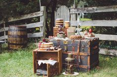 vintage trunks and boxes make for pretty, rustic cake displays
