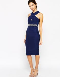 TFNC Pencil Dress With Wrap High Neck And Embellished Waist