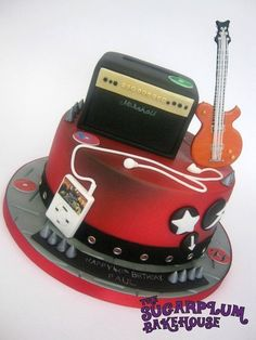 I was so excited to get this order! Turns out the birthday boy has a very similar taste in music to myself so it was right up my alley! The cake itself is a 9 inch round vanilla and white chocolate cake and as the birthday boy is a big lover of. Beautiful Cakes, Amazing Cakes, Music Themed Cakes, Movie Cakes, White Chocolate Cake, Guitar Cake, Gateaux Cake, Novelty Cakes, Cakes For Boys