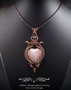 """""""Victorian Rose -- Once Upon a Time"""". Rose Quartz Heart Pendant Wire Wrap Antiqued Copper w/ Chain Cord. Original design by Daryl Adams."""