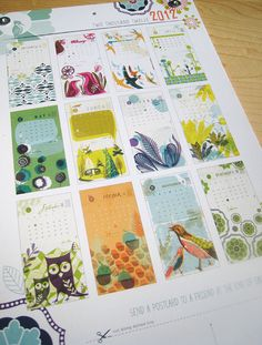 New 2012 Recycled Hanging Wall Calendar - with postcards on back