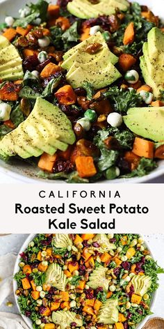 Tasty Vegetarian Recipes, Healthy Salad Recipes, Veggie Recipes, Whole Food Recipes, Diet Recipes, Cooking Recipes, Lunch Salad Recipes, Roasted Kale Recipes, Roasted Kale Salad