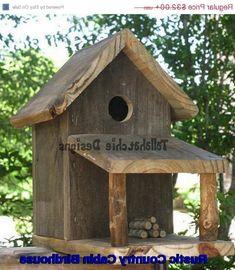 Rustic Country Cabin Birdhouse, Rustic Birdhouse, Primitive Birdhouse, Barnwood… More Wooden Bird Houses, Bird Houses Diy, Bird House Plans, Bird House Kits, Bird House Feeder, Rustic Bird Feeders, Birdhouse Designs, Wood Bird, Reclaimed Barn Wood