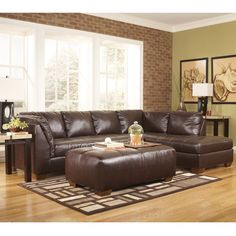 Flash Furniture Signature Design By Ashley Fairplay Sectional With Right Side Facing Chaise In Mahogany Durablend