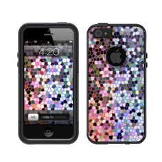 iPhone 5 Otterbox Commuter Series Black Case Stained Glass Pink and Teal #Unnito [ Unnito.com ]