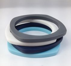 Geometric Matte Resin Statement Stacking Bangle Bracelet Charcoal White Navy Turquoise