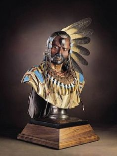 Dave McGary (sculptor), Two Ravens  lifesize bust (Enemies Past) Bronze with Patina and Paint