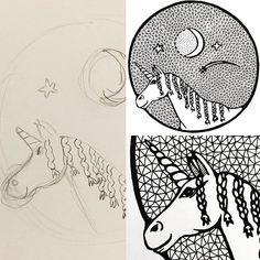 Van kindertekening naar illustratie. Ik blijf het leuk vinden om tekeningen van mijn dochter en haar vriendinnen 'af' te maken. Hier zie je de magische eenhoorn die een vriendin van #zijvan10 heeft getekend. Speciaal voor mij, om mijn lijnen en patronen toe te voegen. Erg leuk om te doen! #eenhoorn #unicorn #kindertekening #childdrawing #patronen #patterns #illustratie #illustration #art #creativelife #createeveryday #creativelifehappylife #tekenen #tekening #draw #drawing #showyourwork…