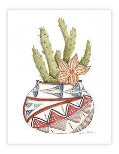 art de l'aquarelle cactus imprimer décoration de par verysarie