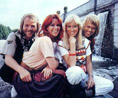 "ABBA posing in the parc of Drottningholm Palace in Stockholm. An alternate pic was used for the single sleeve of ""The Name Of The Game"".The recordings were for the film ""ABBA The Movie"" in 1977. ƸӜƷ"