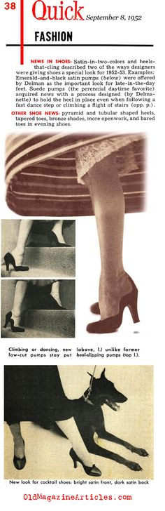The Shoes of '52 (Quick Magazine, 1952) 1950s Fashion Shoes, 1950s Shoes, Satin Pumps, Suede Pumps, Body Adornment, Fashion News, Shoes Heels, Footwear, Magazine