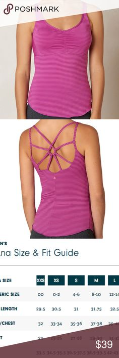 PrAna Dreaming Yoga Top Women Orchid Pink Striped Yoga top with beautiful styling and comfortable fit.   PRODUCT DETAILS      Brushed jersey stripe brushed Micropoly     Back strap key hole detail     Front empire seam     Articulated raw edge hem     Interior shelf bra with removable modesty cups     Fitted     Stripe: 85% Recycled Polyester / 15% Spandex     Solid: 92% Recycled Polyester / 8% Spandex  size chart in photos prAna Tops Tank Tops