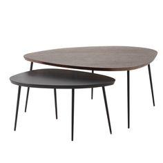 2 mangohouten salontafels, lengte 105 cm en 73 cm Amande