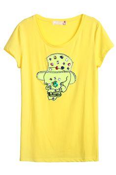 Yellow Short Sleeve Skull Print Rhinestone T-Shirt - Sheinside.com