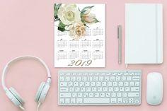 Print Calendar, Yearly Calendar, Calendar 2020, Desk Calendars, Weekly Planner, Paper Goods, Watercolor Flowers, White Flowers, Digital Prints