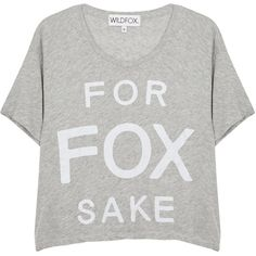 Womens Crop Tops Wildfox For Fox Sake Cropped T-shirt ($85) ❤ liked on Polyvore featuring tops, t-shirts, grey tee, grey crop top, crop t shirt, fox jersey and grey t shirt