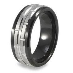 @Overstock - Black ceramic laser cut ringTungsten carbide, jewelryhttp://www.overstock.com/Jewelry-Watches/Mens-Tungsten-Carbide-Black-Inlay-Ring/5207518/product.html?CID=214117 $59.99