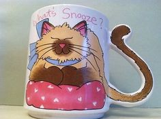 WHAT'S SNOOZE CAT TAIL HANDLE MUG Кружки и чашки