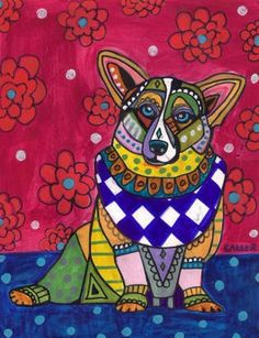 Corgi Pembroke Welsh Corgi Dog Art Print by HeatherGallerArt, $24.00