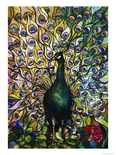 Fine Peacock Leaded Glass Domestic Window by Tiffany Studios. Giclee print from Art.com.