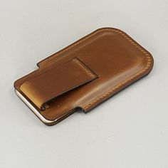 Chestnut Brown Leather iPhone 6 Holster w Belt Loop for Driving by FleurdeLeather