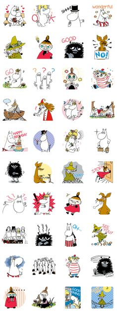 The happy and carefree Moomins are here in a LINE sticker set of huge proportions. Greet your friends in style with the whole Moominvalley crowd! Moomin Tattoo, Les Moomins, Moomin Valley, Baby Posters, Tove Jansson, Sketch Inspiration, Line Sticker, Little My, Illustrations And Posters
