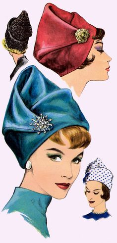 Vint Draped Toque Hat Fascinator Millinery Fabric Sewing Pattern 5384 Frederics | eBay