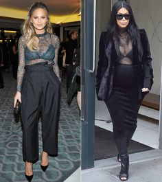 Every Time Chrissy Teigen Channeled Kim Kardashian's Maternity Style - SHEER TOPS  - from InStyle.com