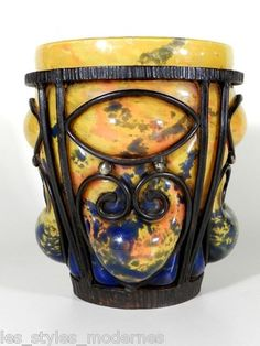 Andre Delatte Nancy Art Deco Schmiedeeisen Glas Vase ° Daum Majorelle Qualität   eBay