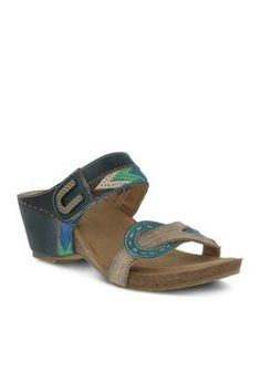 LrsquoArtiste by Spring Step Teal Rinjani Slide Sandal