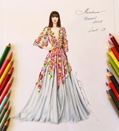 "좋아요 1,538개, 댓글 11개 - Instagram의 NataliaZ.Liu(@nataliazorinliu)님: ""Marchesa Resort 2018  @marchesafashion @georginachapmanmarchesa @kerencraigmarchesa  #handdrawn…"""
