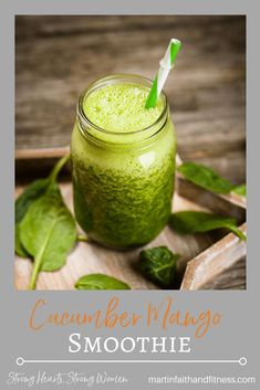 Cucumber Mango Smoothie - Martin Faith and Fitness Mango Smoothie Healthy, Smoothie Blender, Smoothie Prep, Apple Smoothies, Yummy Smoothies, Cucumber Smoothie, Sin Gluten, Healthy Snacks For Kids, Healthy Recipes