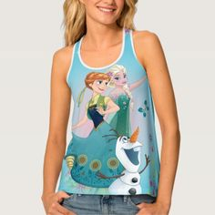 Anna and Elsa Celebrate Sisterhood Tank Top, Women's, Honey Dew / Cadet Blue / Rosy Brown Disney Princess Gifts, Frozen Merchandise, Racerback Tank Top, Fitness Models, Dress Up, Just For You, Feminine, Tank Tops, Celebrities