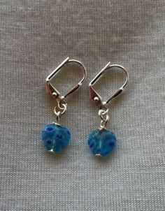 Handmade Jewelry - Blue Heart Earrings - $7.00 USD - Only ships to United States from North Liberty, Iowa.