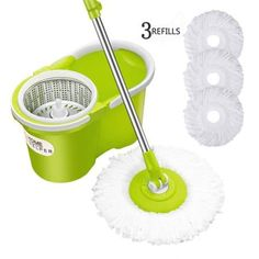 5 Pack Refills Compatible 360 Spinning Magic Mops Round Shape Standard Size M Just Microfiber Cotton Spin Mop Heads Replacement