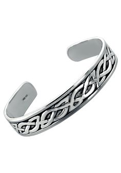 Men's Solid Sterling Silver Celtic Cuff Bracelet - Jewelry for Men