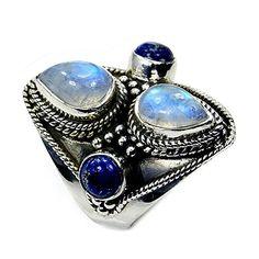 Stunning Sterling Silver Moonstone, Lapis Lazuli Ring, Size 6.75 The Silver Plaza http://www.amazon.com/dp/B00SYRIAK8/ref=cm_sw_r_pi_dp_Igt9ub1W6RQMX