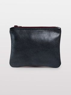 American Apparel Small Leather Carry-All Pouch in Metallic Black